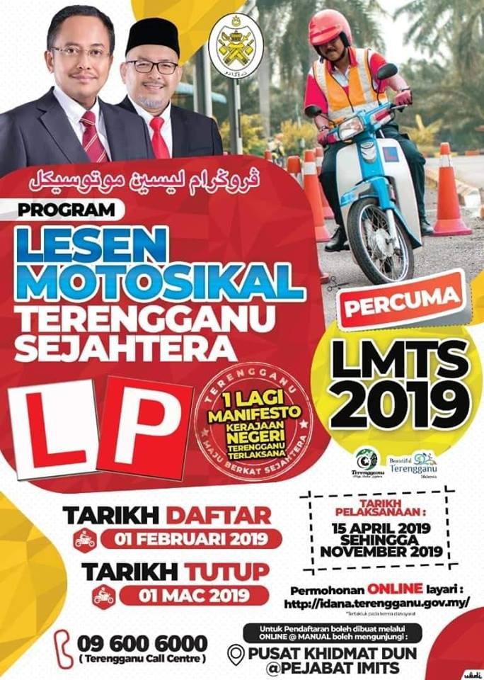 Program Lesen Motor Terengganu Sejahtera Percuma Rakyat Terengganu